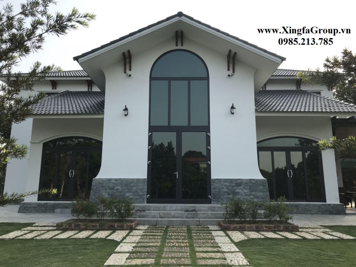 công trình biệt thự nhà vườn lắp đặt cửa nhôm Xingfa nhập khẩu chính hãng 100%
