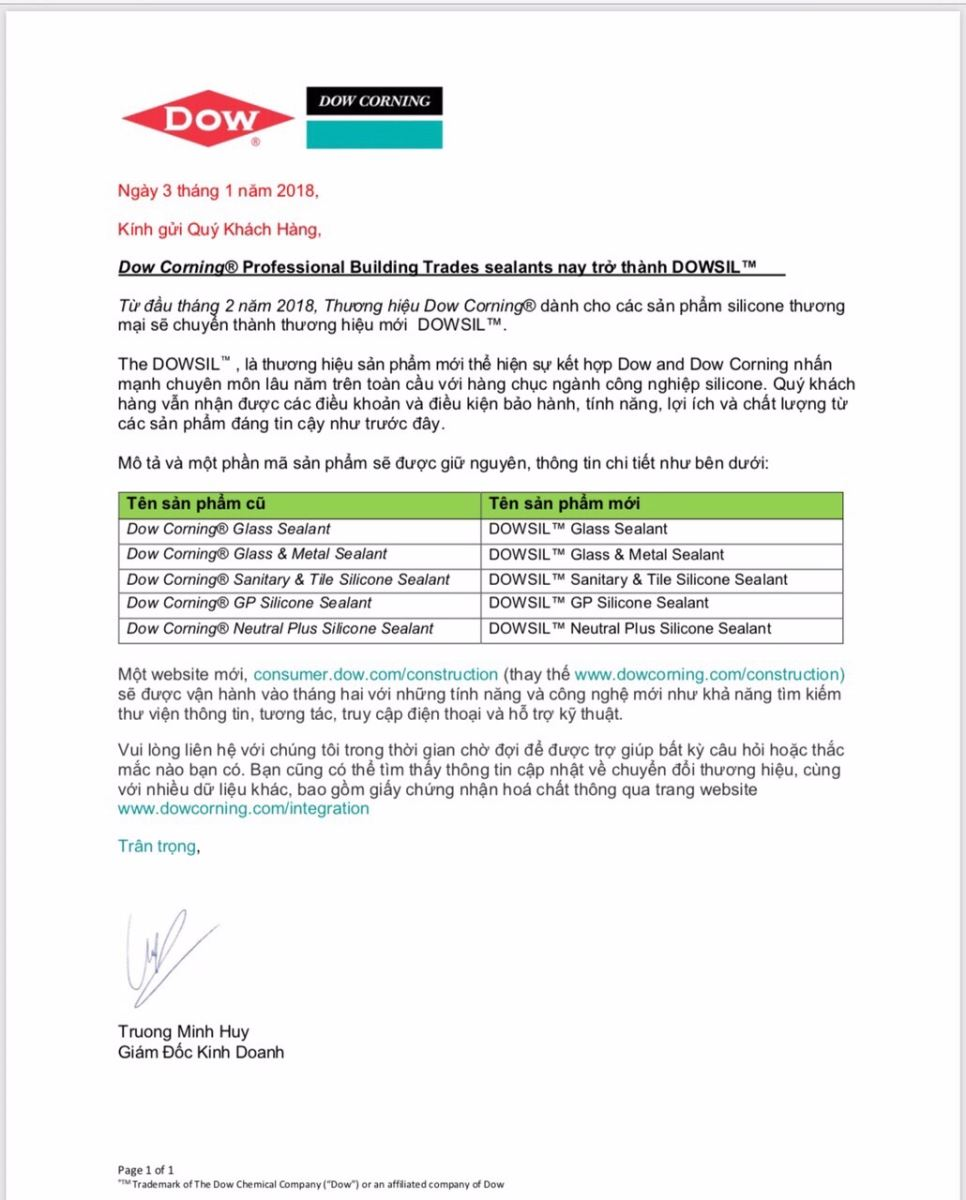 Chứng nhận chất lượng keo DOW dùng thi công cửa nhôm Xingfa - 15