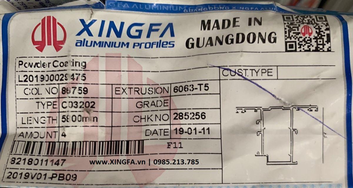 Hình ảnh đóng gói bao bì nhập khẩu nguyên thanh profile nhôm Xingfa tem đỏ Quảng Đông
